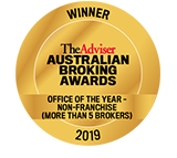 The Adviser Australian broking awards office of the year-non-franchise with more than 5 brokers winning seal 2019