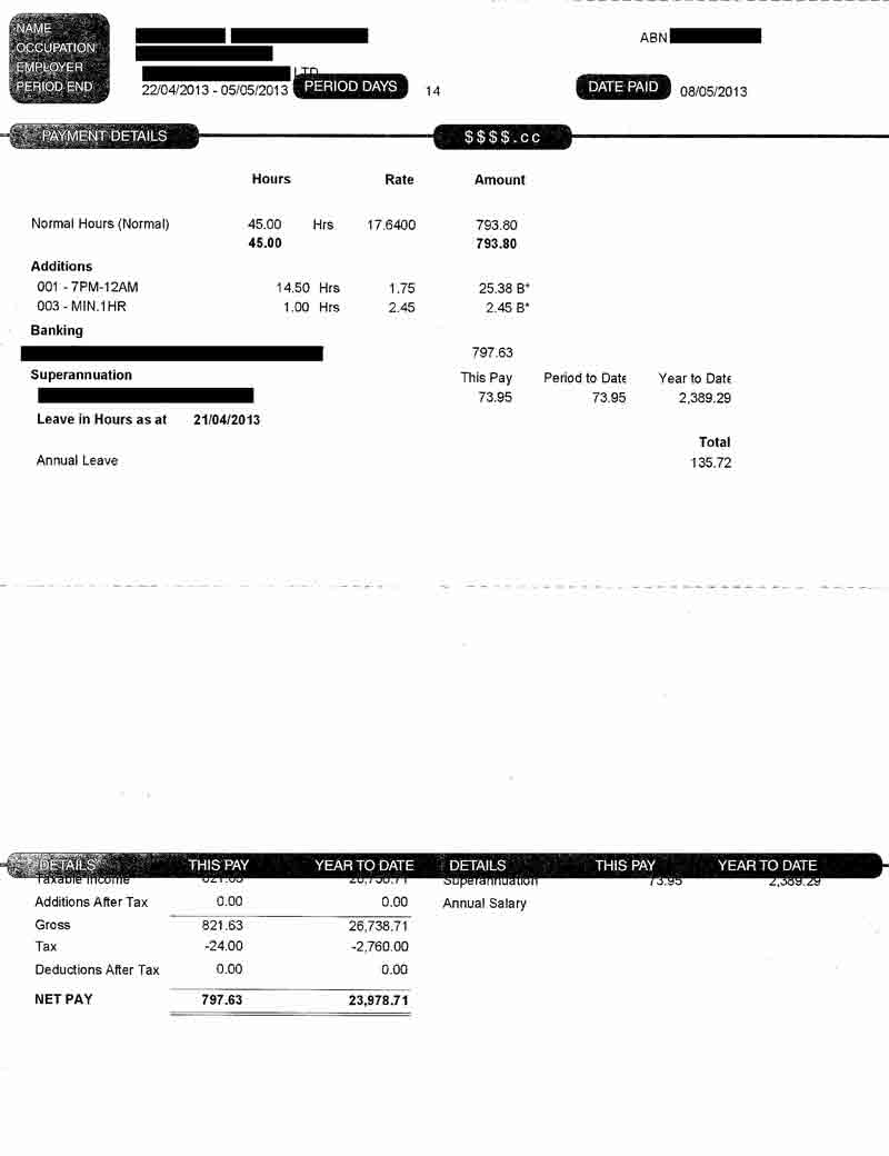 Pay Slip Free Template  Payslip Free Download