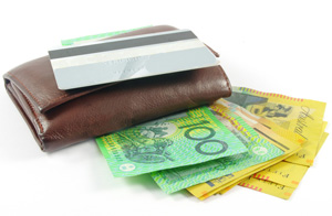 Wallet, credit card and Australian money