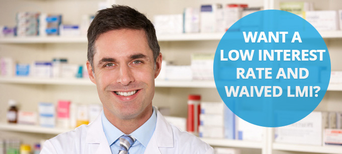 Middle-aged pharmacist smiling in front of prescription medication