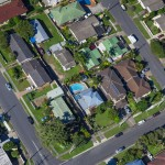 aerial view of Australian suburb.